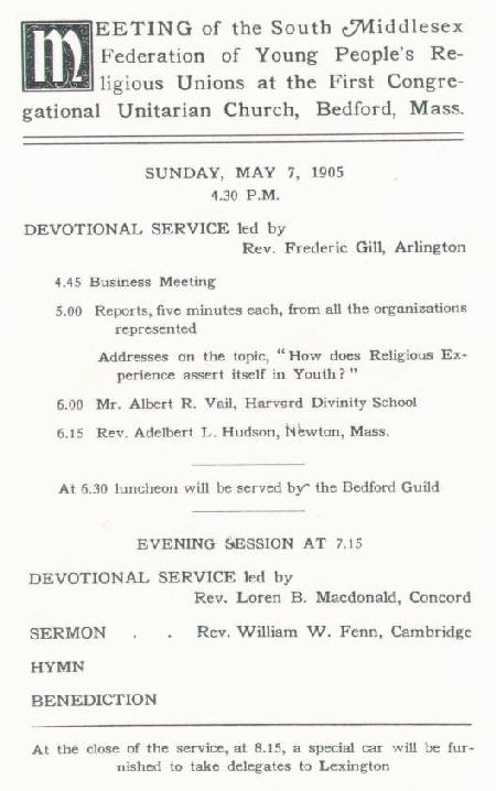 handbill from Young People's Religious Union