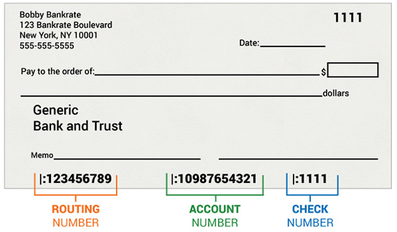 Sample check with routing and account numbers