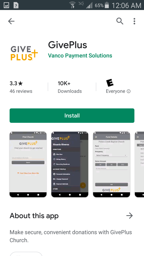 """Install screen for """"GivePlus"""" in Google Play"""