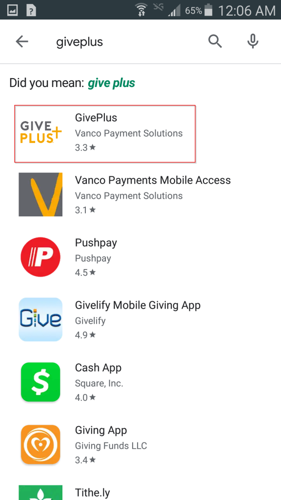 """Results of searching for """"giveplus"""" in Google Play"""