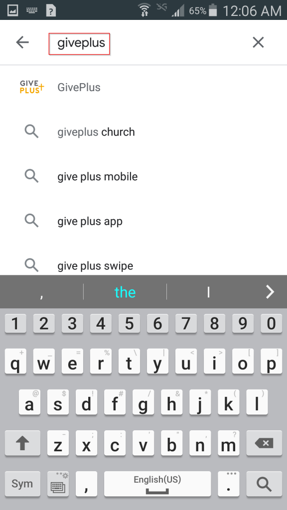 """Searching for """"giveplus"""" in Google Play"""