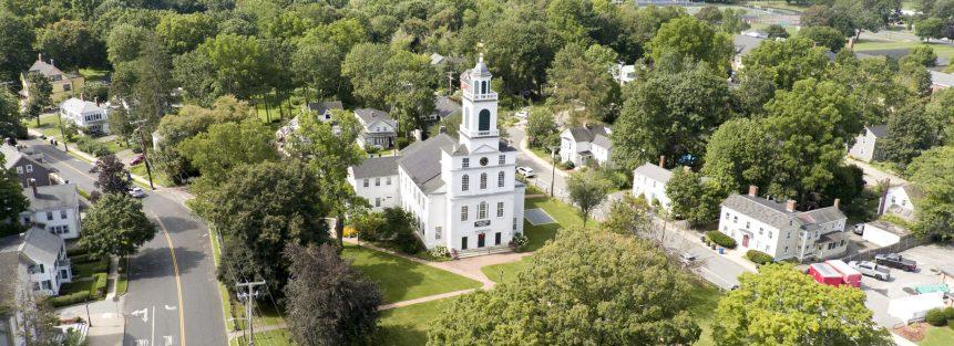 Joe Turner Aerial Image of First Parish in Bedford